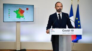 Le Premier ministre français Edouard Philippe présente les détails de la fin du confinement imposé pour freiner la propagation de la maladie à coronavirus (Covid-19), à l'hôtel Matignon à Paris, France le 7 mai 2020.
