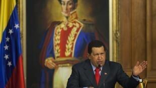 El presidente venezolano, Hugo Chávez en el Palacio de Miraflores, Caracas 10 de febrero de 2010