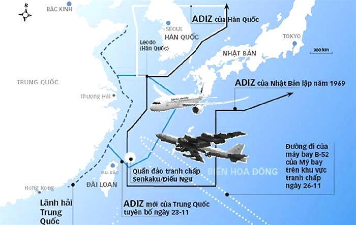 Vùng nhận dạng phòng không ADIZ ở Biển Hoa Đông - DR