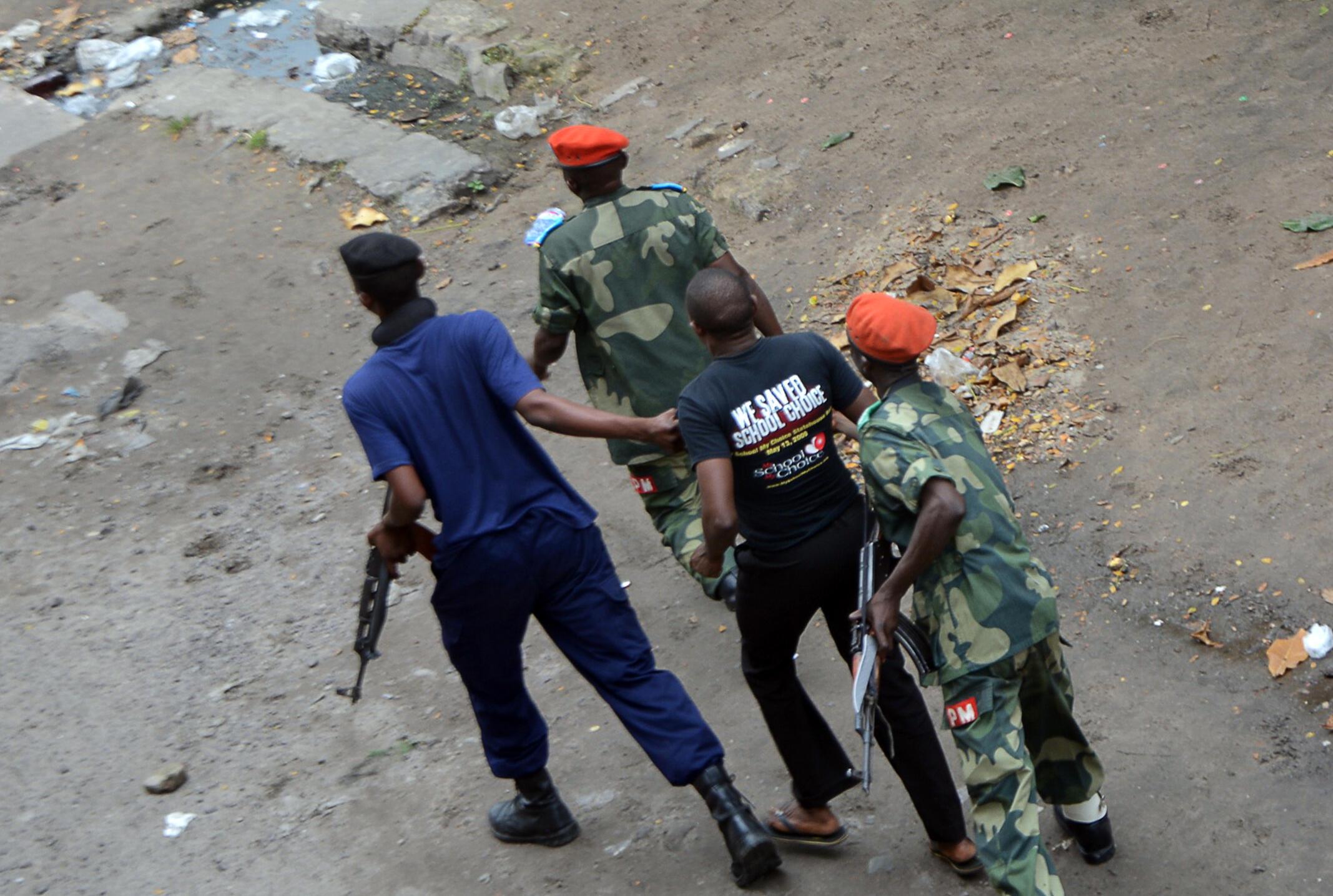 (Illustration) Lors des manifestations contre le pouvoir de Joseph Kabila, la police a procédé à des arrestations le 19 janvier 2015 à Kinshasa.