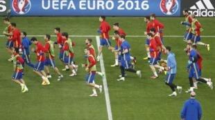 Một buổi tập của đội tuyển Tây Ban Nha trong giải Euro 2016 ở Nice ngày 16/06/2016.