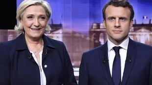 Le Pen e Macron posam antes do debate