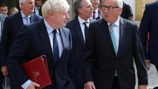 Boris Johnson et Jean-Claude Juncker après leur rencontre, le 16 septembre 2019.