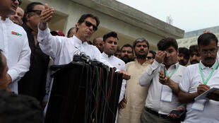 El candidato a cargo de primer ministro Imran Khan tras la votación del miércoles 25 de julio de 2018.