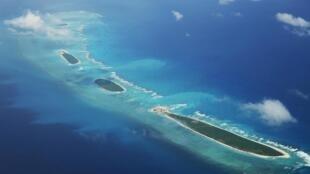 Vue aérienne de l'île de Qilianyu dans l'archipel des Paracels, revendiqués par la Chine, le Vientam et Taïwan.