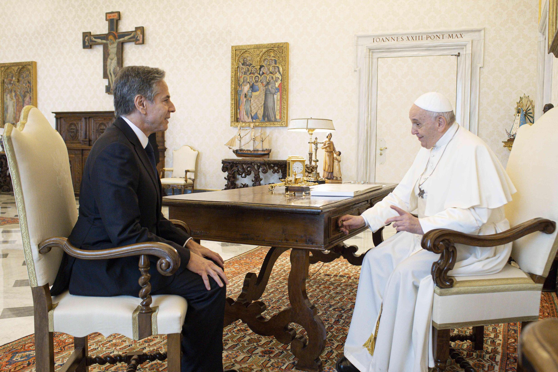 El papa Francisco recibió este lunes en el Vaticano al secretario de Estado de Estados Unidos, Antony Blinken