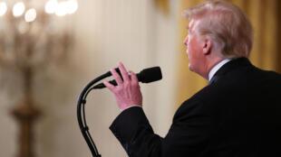 Conférence de presse de Donald Trump à la Maison Blanche le mercredi 7 novembre 2018.