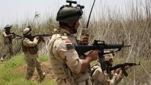 Des soldats irakiens patrouillent à proximité de la ville de Falloujah, en mai 2014.