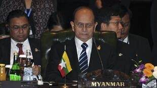 Myanmar's President Thein Sein attends at the Asean leaders meeting in Nusa Dua, Bali