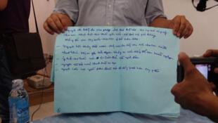 Lá thư tuyệt mệnh của bà Lê Thị Tuyết Mai, với nội dung chống Trung Quốc xâm lược.