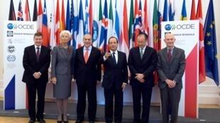 François Hollande se encontrou com as principais organizações econômicas internacionais na OCDE, em Paris.