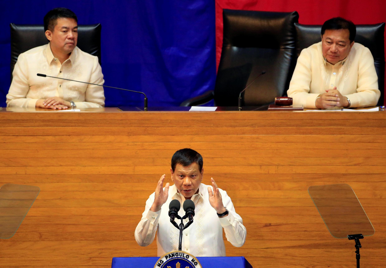 O presidente filipino Rodrigo Duterte em discurso no Parlamento, em julho de 2017