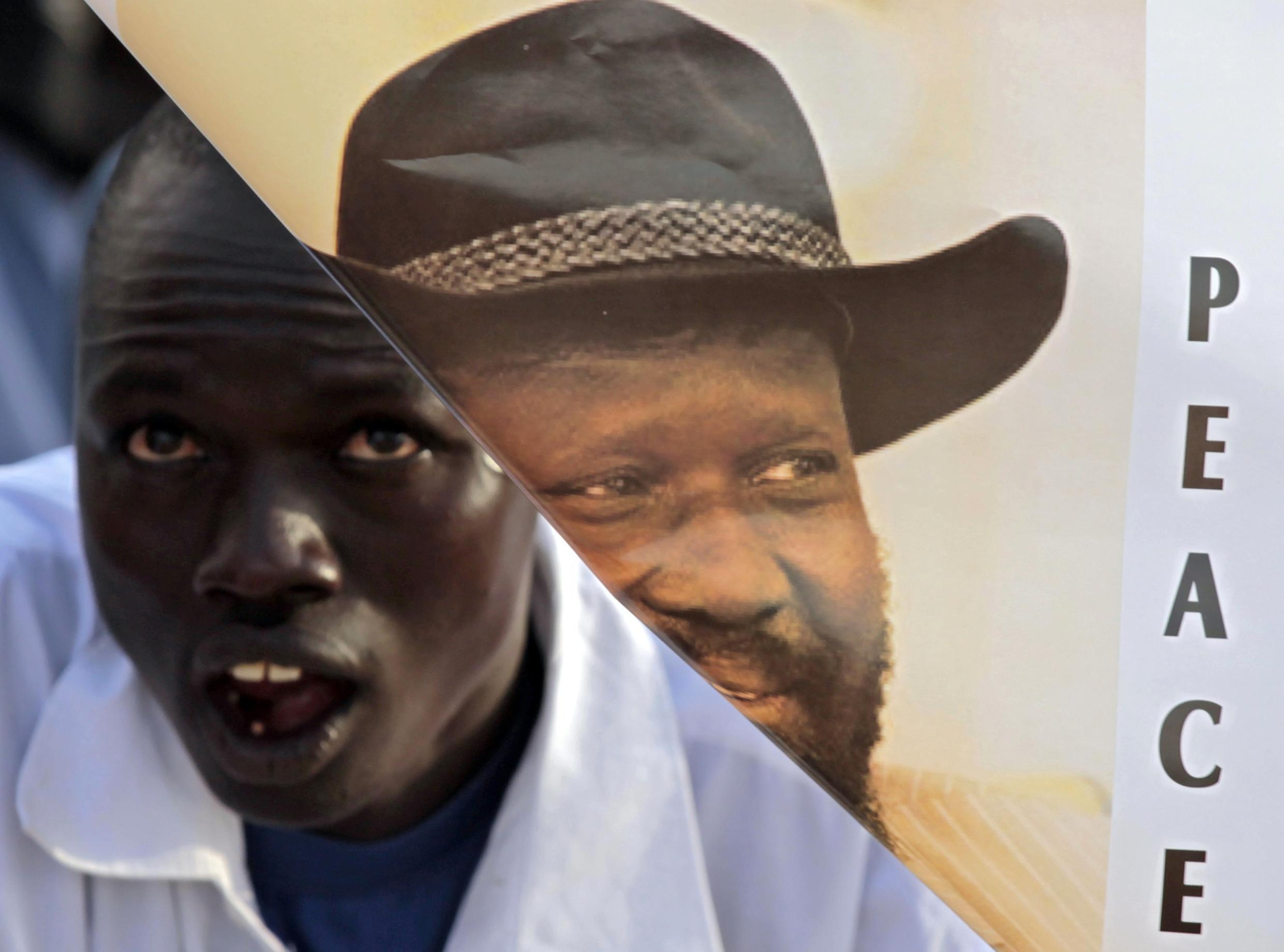 A Salva Kiir supporter at an election rally this month