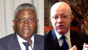 Pascal Tsaty Mabiala (G) candidat de l'UPADS et Thierry Lezin Moungalla (D) responsable de la Communication du candidat Denis Sassou-Nguesso