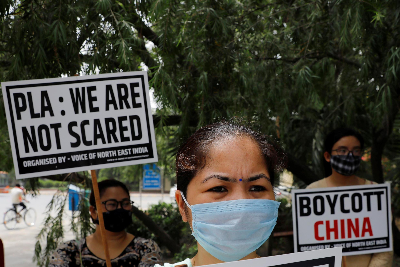 Protesta en Nueva Delhi contra China, el 19 de junio de 2020.