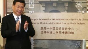 Си Цзиньпин во время посещения выставки во Франко-китайском институте в Лионе 26/03/2014