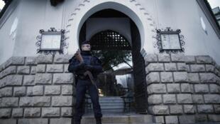 Depois dos atentados policial armado monta guarda em frente a Grande Mosquée.