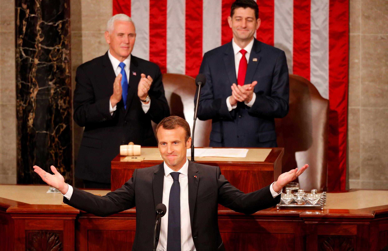 Tổng thống Pháp Emmanuel Macron phát biểu trước Quốc Hội Lưỡng Viện Mỹ. Ngày 25/04/2018.