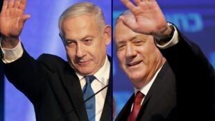 """بنیامین نتانیاهو و بنی گانتز رهبران لیکود و حزب """"آبی-سفید."""""""