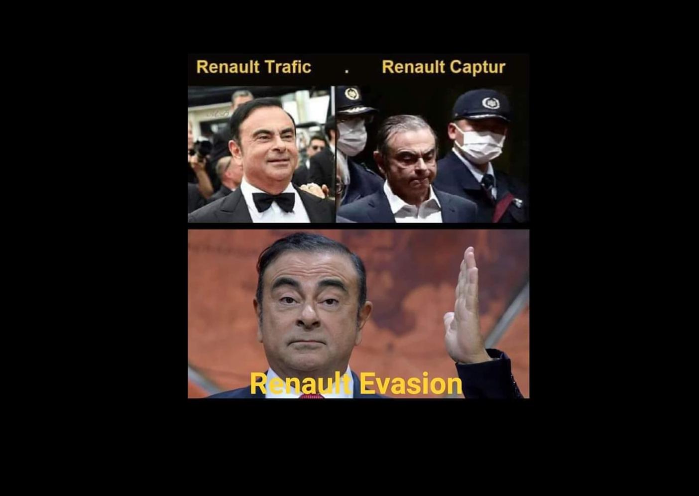 Meme sobre as três etapas do escândalo envolvendo Carlos Ghosn.