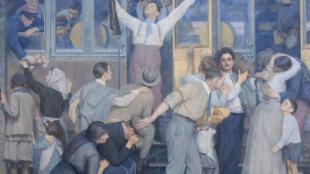 Gare de l'Est: «Le départ des poilus, août 1914», un fragment de la toile peinte et offerte par Albert Herter à la Société des chemins de fer de l'Est en 1926.