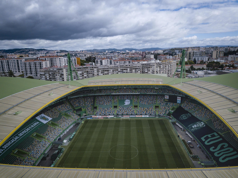 """Vista aérea do Estádio de Alvalade em Lisboa, que deve acolher alguns dos desafios da  """"Final 8"""" da Liga dos campeões europeus de futebol em Agosto de  2020."""