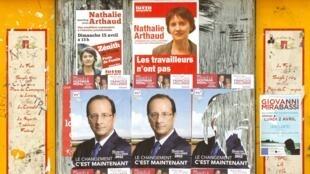 Cartazes de campanha eleitoral na França.