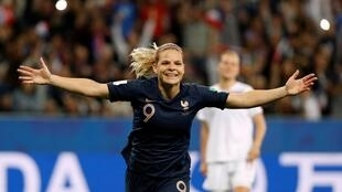 Eugénie Le Sommer celebrates after scoring the winner against Norway in the Women's World Cup, Nice, France, 12 June 2019.