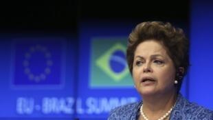 A presidente Dilma Rousseff em Bruxelas , 24 de fevereiro de 2014.