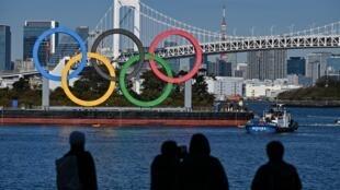 Les anneaux olympiques en plein centre de Tokyo, le 1er décembre 2020