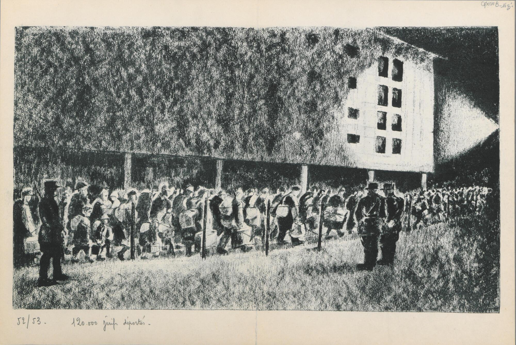 Um desenho de Georges Horan-Koiransky exposto no Memorial da Shoah de Drancy.