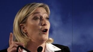 FN's Marine Le Pen speaks during a news conference about the upcoming legislative, in Henin Beaumont