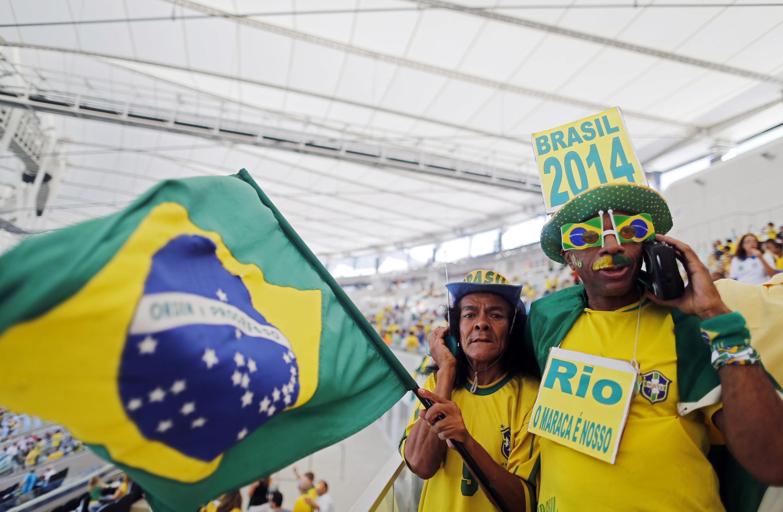 'Yan kasar Brazil a filin wasa na Maracanã, a Rio de Janeiro.