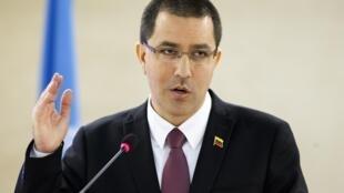 Le ministre des Affaires étrangères su Venezuela, Jorge Arreaza, le 25 février à Genève en Suisse.