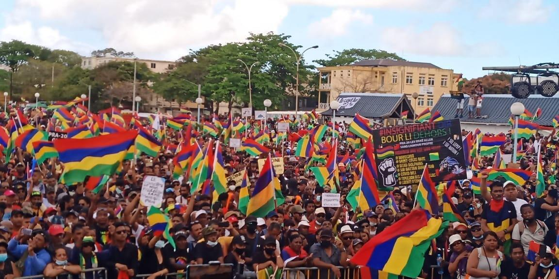 """In Mauritius, a large crowd gathered in south-eastern village of Mahebourg in a protest march demanding a """"new Mauritius""""."""