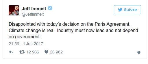 Tuíte de Jeff Immelt, presidente do grupo americano General Electric