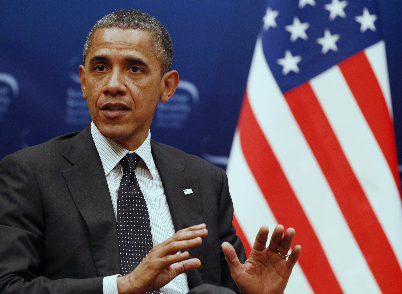 O presidente americano Barack Obama durante pronunciamento nesta segunda-feira, em Seul.