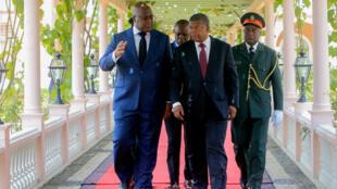 O Presidente da RDC Félix Tshisekedi juntamente com o Chefe de Estado angolano João Lourenço em Luanda nesta Terça-feira 5 de Fevereiro de 2019.