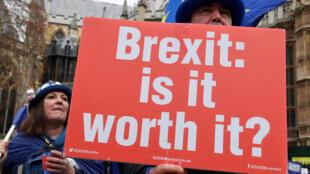 Steve Bray, manifestant anti-Brexit, tient une pancarte devant le Parlement à Londres, en Grande-Bretagne, le 10 décembre 2018.