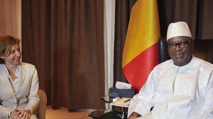 French Armed Forces Minister Florence Parly with Mali's President Ibrahim Boubacar Keita in August