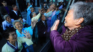 South Korean Wang So-Goon waves to her North Korean relatives after a family reunion meeting at the Mount Kumgang resort in 2010
