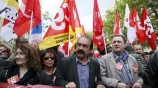 A la SNCF,  la CGT  appelle à une grève reconductible à partir du 31 mai 2016. Photo : Philippe Martinez, le secrétaire général de la CGT.
