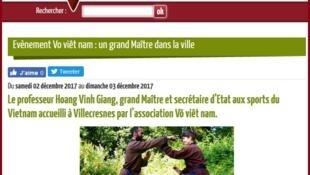 Ảnh chụp màn hình trang web của thành phố Villecresnes (ngoại ô Paris-Pháp) nói về cuộc thi lên đai cho giới tập võ cổ truyền Việt Nam ở châu Âu.
