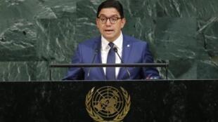 Ministan harkokin waje na kasar Morocco  Nasser Bourita yayin jawabi ga zauren majalisar dinkin duniya, a watan Satumba, 2017.