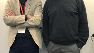 Jerónimo Rocha (esquerda) e Frederico Serra (direita), respectivamente realizador e produtor de Dédalo no Mercado do filme do Festival de cinema de Macau.