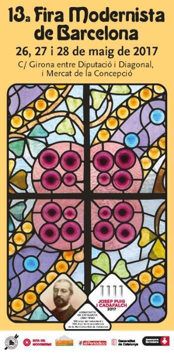 Detalhe do cartaz da Feira Modernista de Barcelona, dedicada ao arquiteto