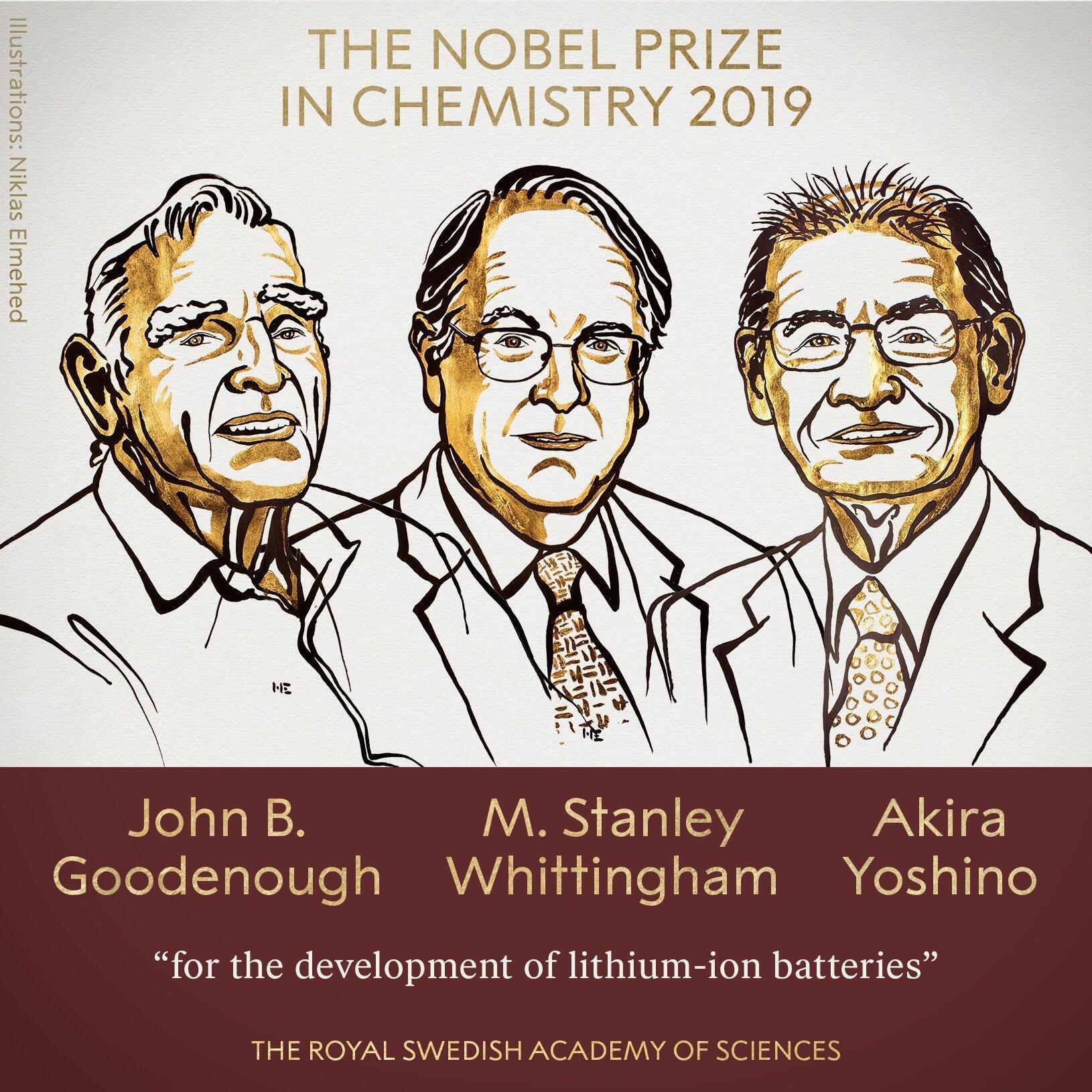 برندگان جایزۀ نوبل شیمی امسال عبارتند از شهروند ٩٧ سالۀ آمریکایی به نام جان گودایناف، تبعۀ بریتانیایی، ستنلی وایتینگهام، و پژوهشگر ژاپنی آکیرا یوشینو.