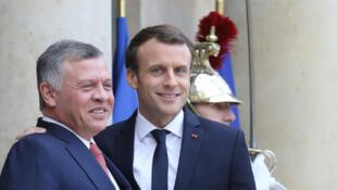 Le roi de Jordanie Abdallah II reçu à l'Elysée par Emmanuel Macron, le 19 décembre 2017.