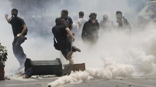 Anti-austerity protests in Athens Wednesday