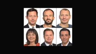 En haut, de g. à dr. : François-Xavier Bellamy, Manuel Bompard, David Cormand, Sylvie Guillaume, Jérôme Rivière et Stéphane Séjourné.